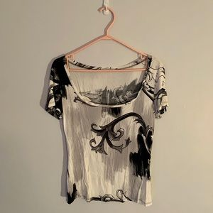 Versace Vintage Square Neck Baroque Print Shirt